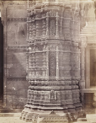 Close view of base of north minaret of the Queen's Mosque or Rani Rupavati Masjid, Ahmadabad